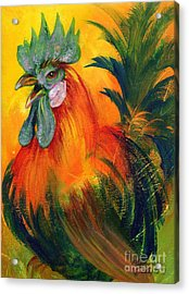 Rooster Of Another Color Acrylic Print by Summer Celeste