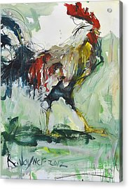 Rooster Painting Acrylic Print by Robert Joyner