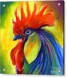 Rooster Painting Acrylic Print by Svetlana Novikova