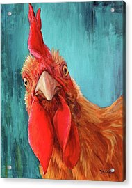 Rooster With Attitude Acrylic Print by Dottie Dracos