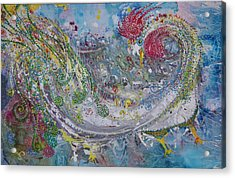 Acrylic Print featuring the painting Rooster With The Peacock Tail by Sima Amid Wewetzer