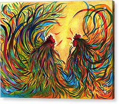 Roosters Frienship Acrylic Print by Fanny Diaz