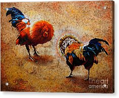 Roosters  Scene Acrylic Print by J- J- Espinoza