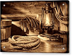 Rope And Tools In A Barn Acrylic Print