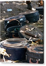 Rope Cans.. Acrylic Print by Carol Miller