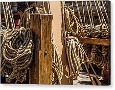Ropes Aboard A Tall Ship Acrylic Print by Dale Kincaid