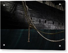 Ropes On The Uss Constellation Navy Ship Acrylic Print by Marianna Mills