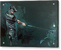 Rory Mcilroy Trick Shot 2010 Acrylic Print by Mark Robinson