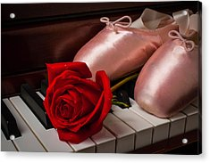 Rose And Ballet Shoes Acrylic Print