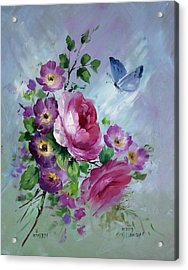 Rose And Butterfly Acrylic Print by David Jansen