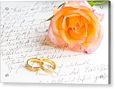 Rose And Two Rings Over Handwritten Letter Acrylic Print by Ulrich Schade