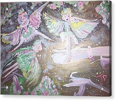 Acrylic Print featuring the painting Rose Fairies by Judith Desrosiers