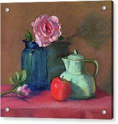 Rose In Blue Jar Acrylic Print