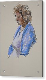 Rose In Her Blue Shawl Acrylic Print by Mary McInnis
