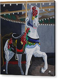 Acrylic Print featuring the painting Rose Lead Horse by Paul Amaranto