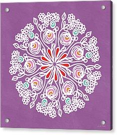 Acrylic Print featuring the mixed media Rose Mandala 1- Art By Linda Woods by Linda Woods