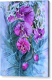 Acrylic Print featuring the painting Rose Orchids by Mindy Newman