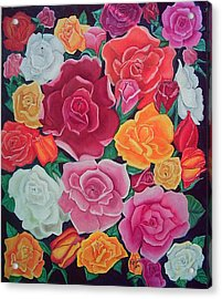 Rose Reunion Acrylic Print by Kathern Welsh