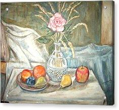 Rose With Fruit Acrylic Print by Joseph Sandora Jr
