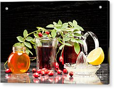 Rosehip Tea With Honey And Lemon In Glass Acrylic Print by Wolfgang Steiner