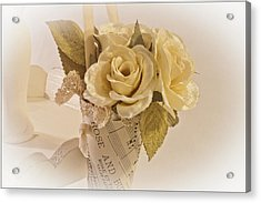 Roses And Butterfly Posy  Acrylic Print by Sandra Foster