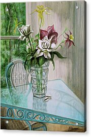 Roses And Columbine Acrylic Print by Marcella Muhammad