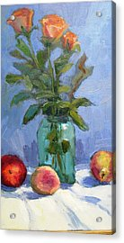 Roses And Fruit Still Life Acrylic Print