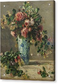Roses And Jasmine In A Delft Vase Acrylic Print by Pierre Auguste Renoir