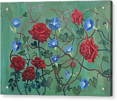 Roses And Morning Glories Acrylic Print