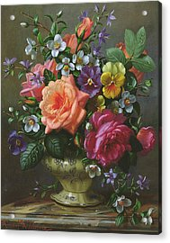 Roses And Pansies Acrylic Print