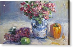 Roses And Pepper Still Life Acrylic Print