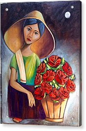 Roses Are Ref Acrylic Print by Khristina Manansala