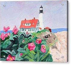 Roses At Portland Headlight Acrylic Print by Stella Sherman