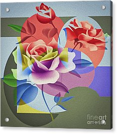 Acrylic Print featuring the digital art Roses For Her by Eleni Mac Synodinos