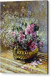 Roses In A Copper Vase Acrylic Print by Claude Monet