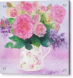 Roses In A Pink Floral Jug Acrylic Print by Jan Matson