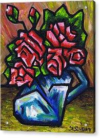 Roses In Blue Vase Acrylic Print by Kamil Swiatek