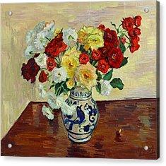 Roses In Chinese Vase Acrylic Print by Vitali Komarov