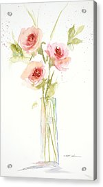 Acrylic Print featuring the painting Roses In Glass Vase by Sandra Strohschein
