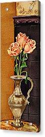 Roses In The Metal Vase Acrylic Print by Irina Sztukowski