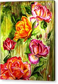 Acrylic Print featuring the painting Roses In The Valley  by Harsh Malik
