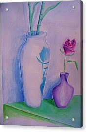 Acrylic Print featuring the painting Roses  In Vase by Eric  Schiabor