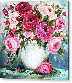 Acrylic Print featuring the painting Roses In Vase by Jennifer Beaudet