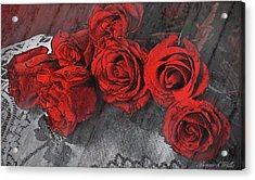Acrylic Print featuring the photograph Roses On Lace by Bonnie Willis