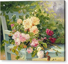 Roses On The Bench  Acrylic Print by Eugene Henri Cauchois