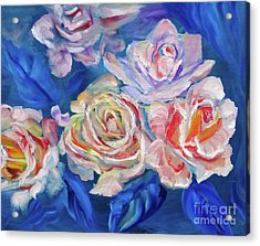 Roses, Roses On Blue Acrylic Print