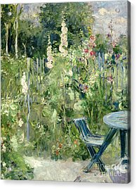 Roses Tremieres Acrylic Print by Berthe Morisot