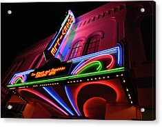 Roseville Theater Neon Sign Acrylic Print by Melany Sarafis