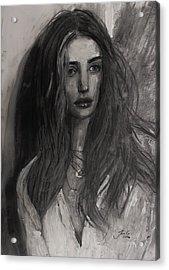 Acrylic Print featuring the painting Rosie Huntington-whiteley by Jarko Aka Lui Grande