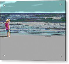 Rosie On The Beach Acrylic Print by Walter Chamberlain